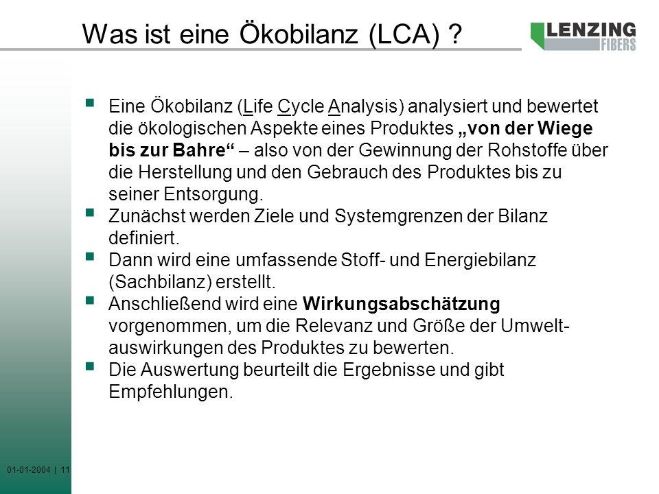 01-01-2004 | 11 Was ist eine Ökobilanz (LCA) ? Eine Ökobilanz (Life Cycle Analysis) analysiert und bewertet die ökologischen Aspekte eines Produktes v