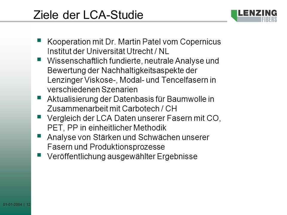 01-01-2004 | 12 Ziele der LCA-Studie Kooperation mit Dr. Martin Patel vom Copernicus Institut der Universität Utrecht / NL Wissenschaftlich fundierte,