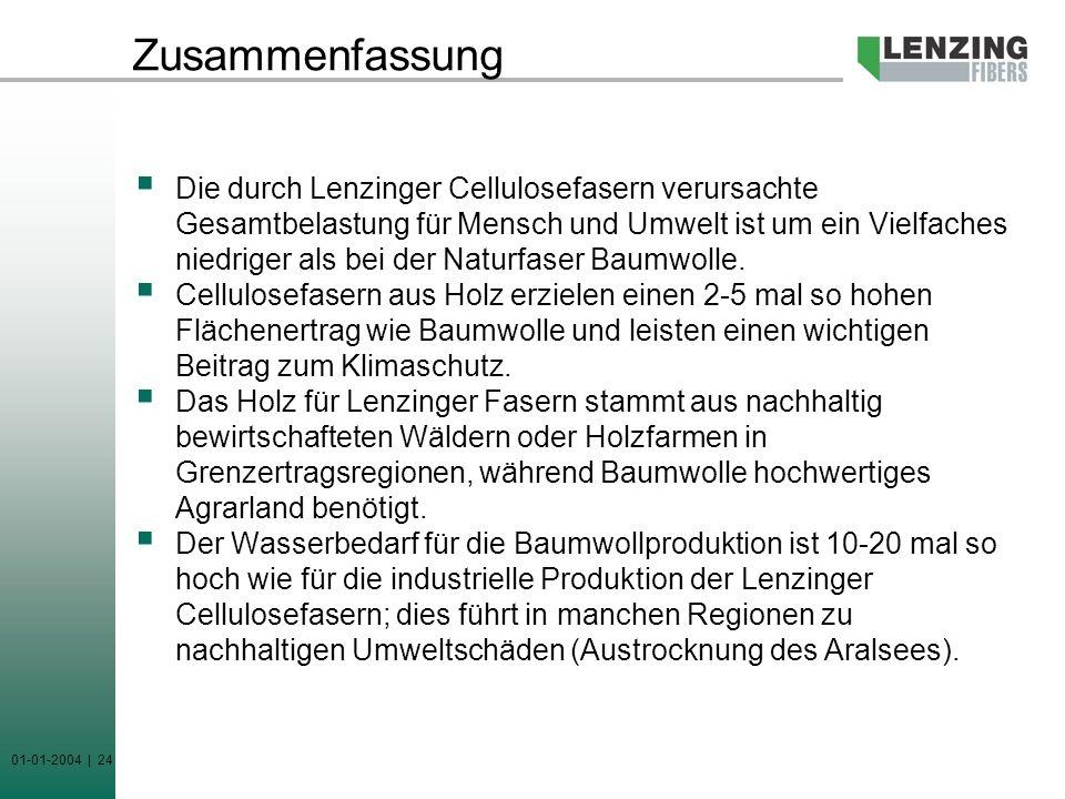 01-01-2004 | 24 Zusammenfassung Die durch Lenzinger Cellulosefasern verursachte Gesamtbelastung für Mensch und Umwelt ist um ein Vielfaches niedriger