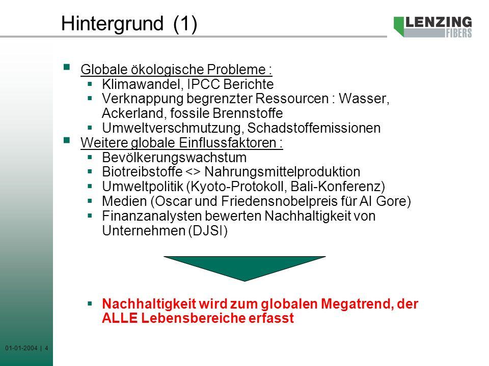 01-01-2004 | 4 Hintergrund (1) Globale ökologische Probleme : Klimawandel, IPCC Berichte Verknappung begrenzter Ressourcen : Wasser, Ackerland, fossil