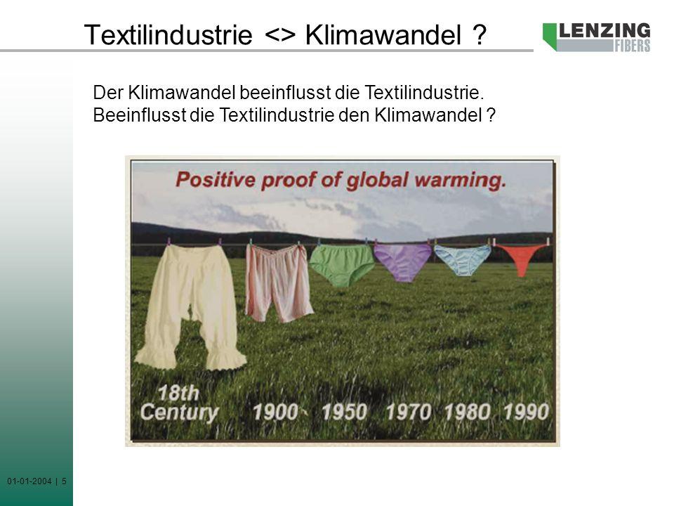 01-01-2004 | 5 Textilindustrie <> Klimawandel ? Der Klimawandel beeinflusst die Textilindustrie. Beeinflusst die Textilindustrie den Klimawandel ?