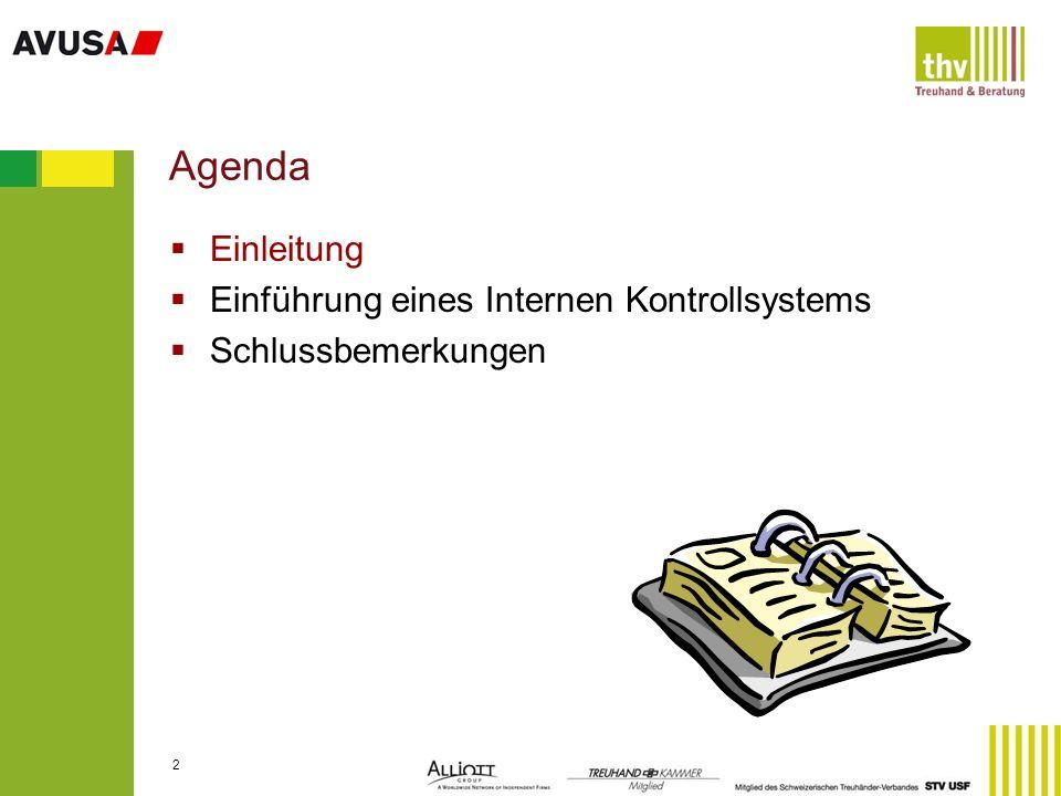 3 Definition eines Internen Kontrollsystems (IKS) Unter Interner Kontrolle werden alle durch den Verwaltungs-/Stiftungsrat oder die Unternehmensleitung angeordneten Vorgänge, Methoden und Massnahmen verstanden, die dazu dienen, einen ordnungsgemässen Ablauf der betrieblichen Aktivitäten zu gewährleisten.