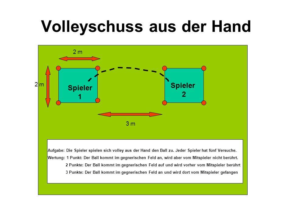 Volleyschuss aus der Hand Spieler 2 2 m 3 m Aufgabe: Die Spieler spielen sich volley aus der Hand den Ball zu. Jeder Spieler hat fünf Versuche. Wertun