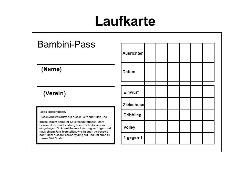 Laufkarte Bambini-Pass (Name) (Verein) Ausrichter Datum Einwurf Zielschuss Dribbling Volley 1 gegen 1 Liebe Spieler/innen, Diesen Ausweis bitte auf di