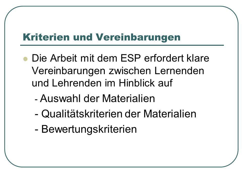 Kriterien und Vereinbarungen Die Arbeit mit dem ESP erfordert klare Vereinbarungen zwischen Lernenden und Lehrenden im Hinblick auf - Auswahl der Materialien - Qualitätskriterien der Materialien - Bewertungskriterien