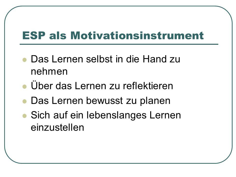 ESP als Motivationsinstrument Das Lernen selbst in die Hand zu nehmen Über das Lernen zu reflektieren Das Lernen bewusst zu planen Sich auf ein lebenslanges Lernen einzustellen
