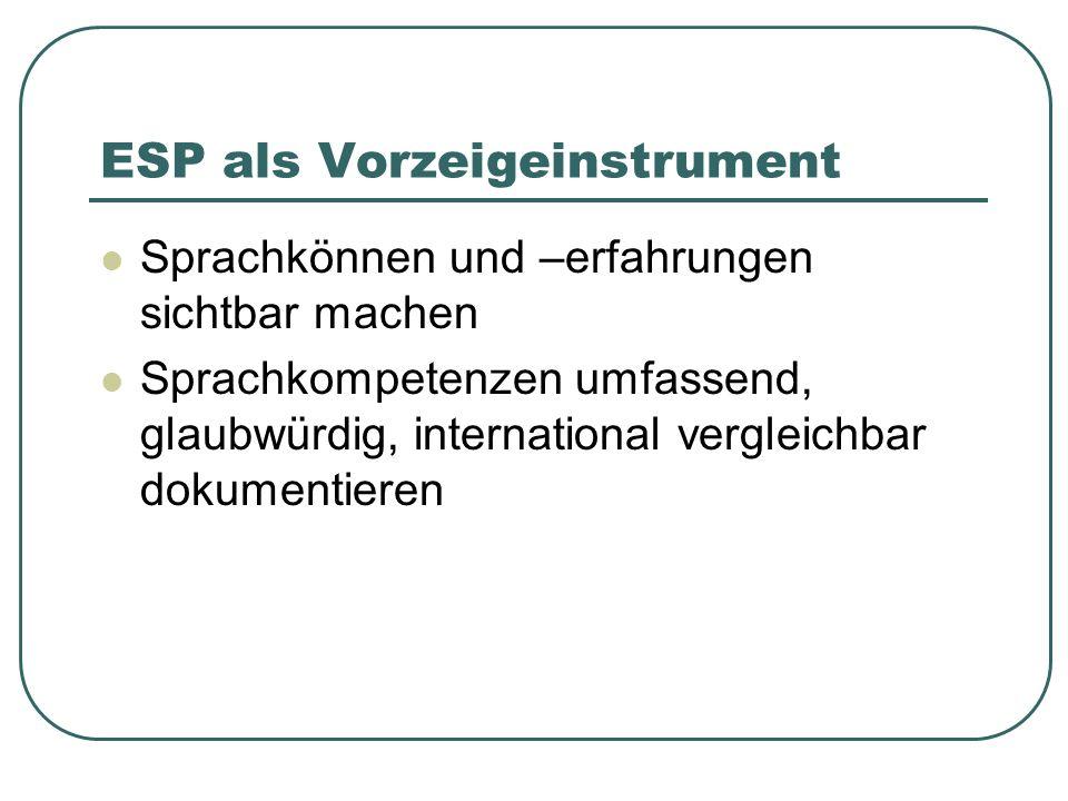 ESP als Vorzeigeinstrument Sprachkönnen und –erfahrungen sichtbar machen Sprachkompetenzen umfassend, glaubwürdig, international vergleichbar dokument