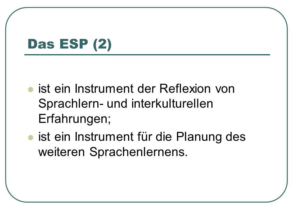 Das ESP (2) ist ein Instrument der Reflexion von Sprachlern- und interkulturellen Erfahrungen; ist ein Instrument für die Planung des weiteren Sprachenlernens.
