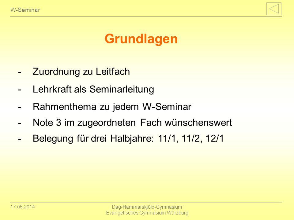 17.05.2014 Dag-Hammarskjöld-Gymnasium Evangelisches Gymnasium Würzburg W-Seminar -Zuordnung zu Leitfach -Lehrkraft als Seminarleitung -Rahmenthema zu