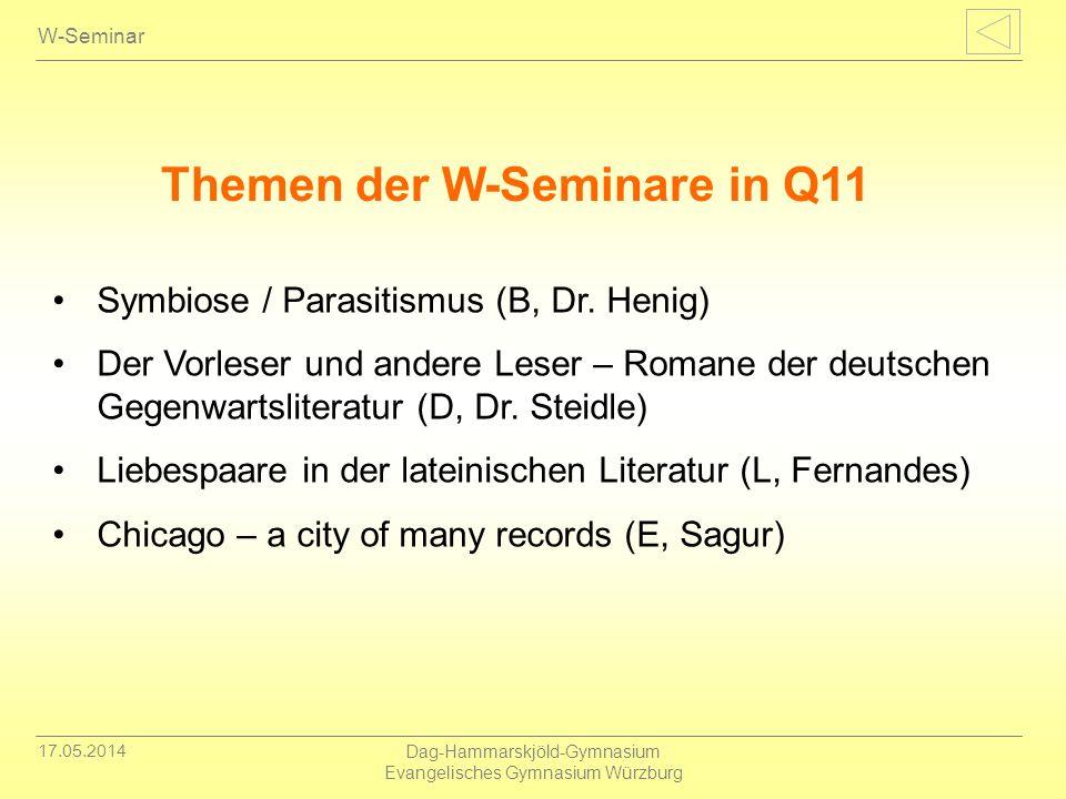 17.05.2014 Dag-Hammarskjöld-Gymnasium Evangelisches Gymnasium Würzburg W-Seminar Symbiose / Parasitismus (B, Dr. Henig) Der Vorleser und andere Leser