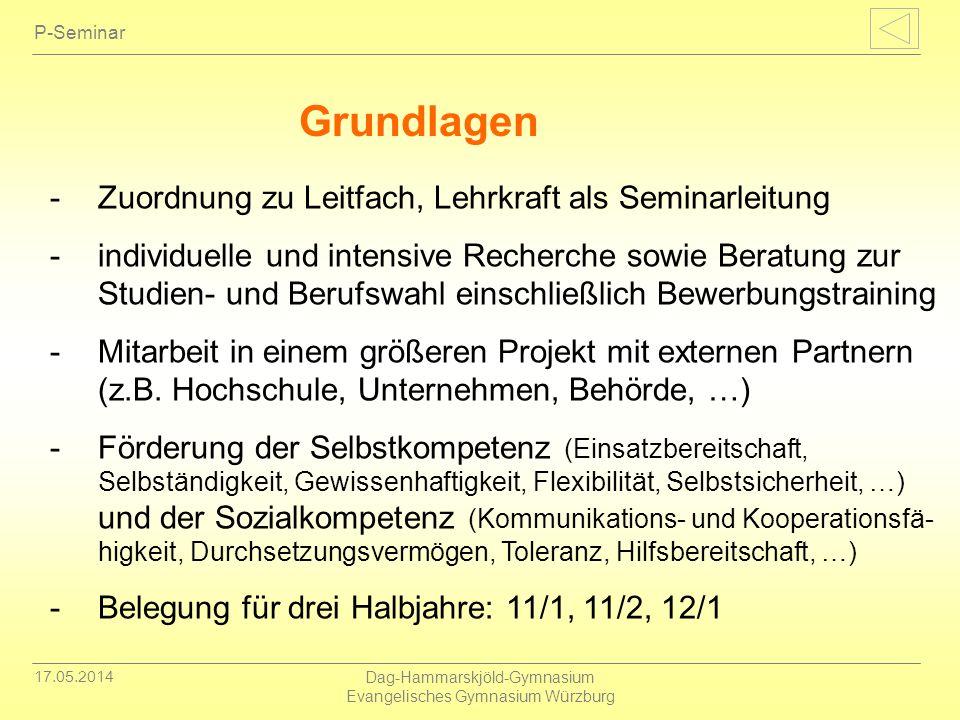 17.05.2014 Dag-Hammarskjöld-Gymnasium Evangelisches Gymnasium Würzburg P-Seminar -Zuordnung zu Leitfach, Lehrkraft als Seminarleitung -individuelle un