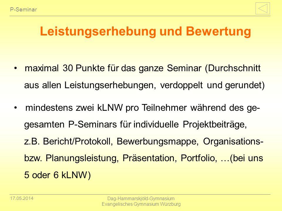 17.05.2014 Dag-Hammarskjöld-Gymnasium Evangelisches Gymnasium Würzburg P-Seminar Leistungserhebung und Bewertung maximal 30 Punkte für das ganze Semin