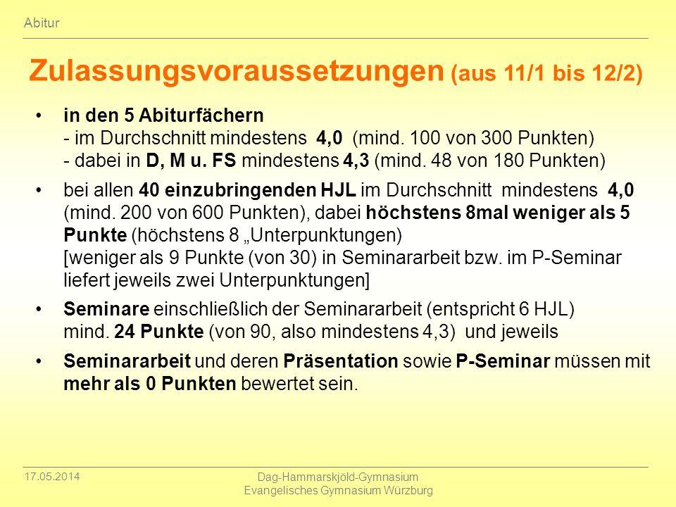 17.05.2014 Dag-Hammarskjöld-Gymnasium Evangelisches Gymnasium Würzburg Abitur Zulassungsvoraussetzungen (aus 11/1 bis 12/2) in den 5 Abiturfächern - i