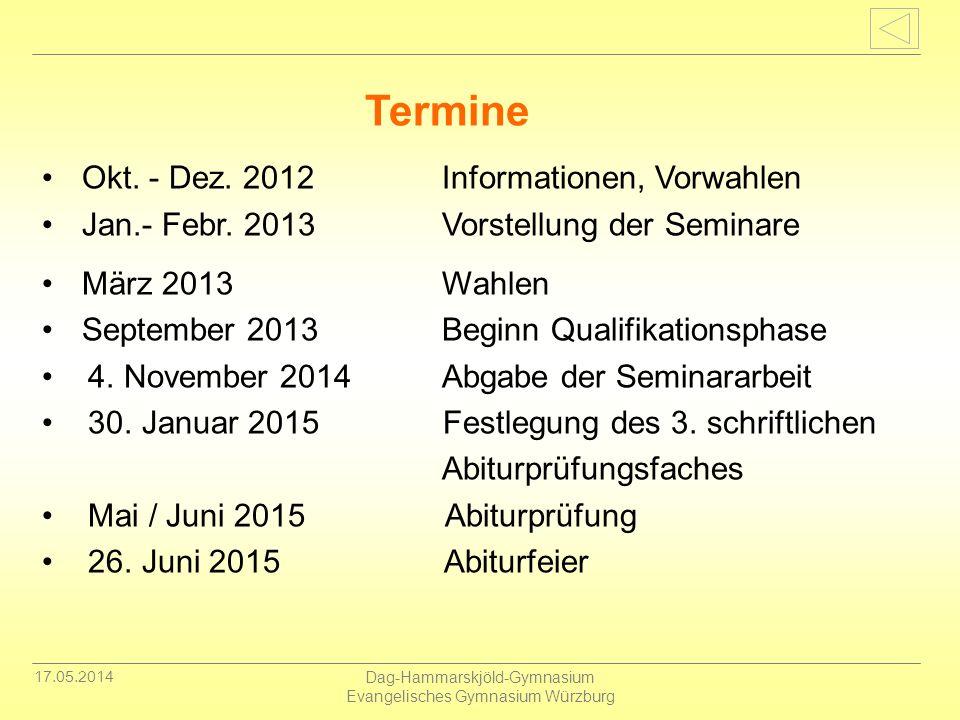 17.05.2014 Dag-Hammarskjöld-Gymnasium Evangelisches Gymnasium Würzburg Okt. - Dez. 2012 Informationen, Vorwahlen Jan.- Febr. 2013 Vorstellung der Semi