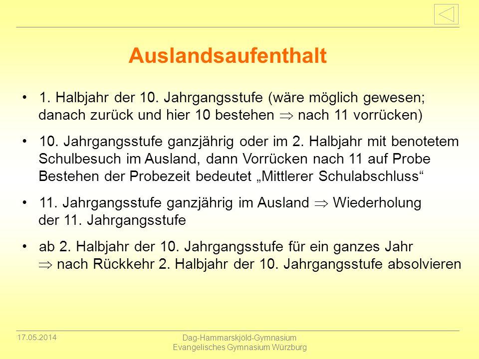 17.05.2014 Dag-Hammarskjöld-Gymnasium Evangelisches Gymnasium Würzburg 1. Halbjahr der 10. Jahrgangsstufe (wäre möglich gewesen; danach zurück und hie