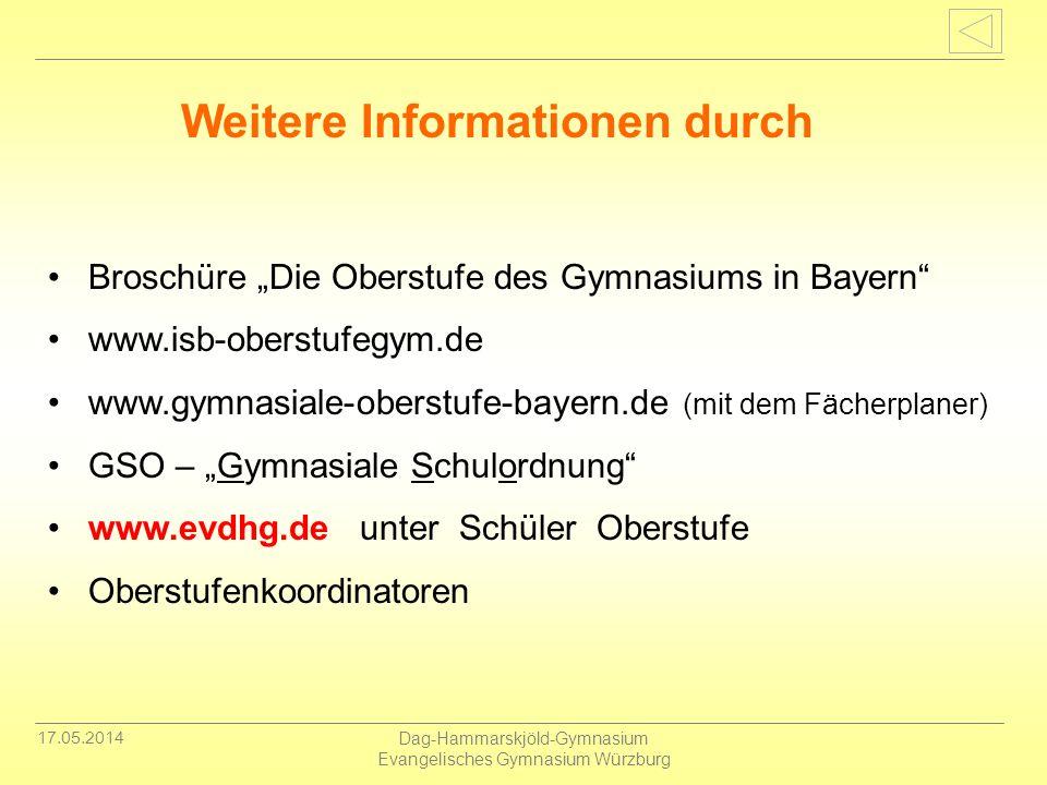 17.05.2014 Dag-Hammarskjöld-Gymnasium Evangelisches Gymnasium Würzburg Broschüre Die Oberstufe des Gymnasiums in Bayern www.isb-oberstufegym.de www.gy