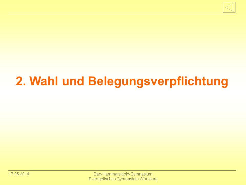 17.05.2014 Dag-Hammarskjöld-Gymnasium Evangelisches Gymnasium Würzburg 2. Wahl und Belegungsverpflichtung