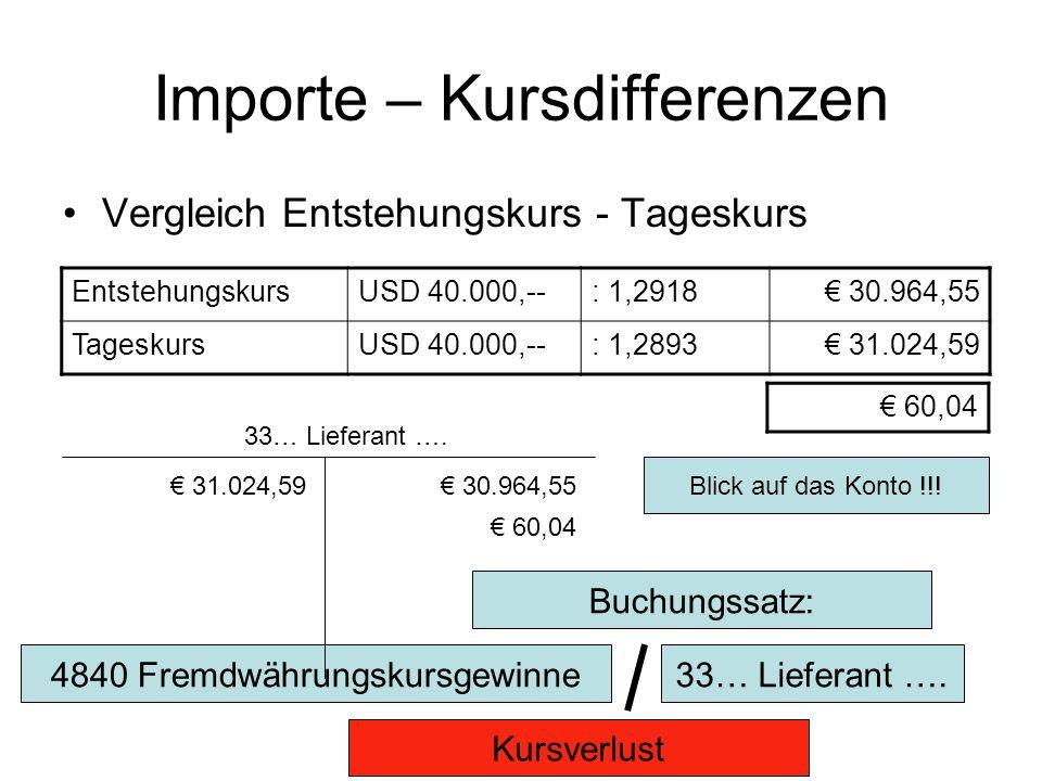 Importe – Kursdifferenzen Vergleich Entstehungskurs - Tageskurs EntstehungskursUSD 40.000,--: 1,2918 30.964,55 TageskursUSD 40.000,--: 1,2893 31.024,59 60,04 Blick auf das Konto !!.
