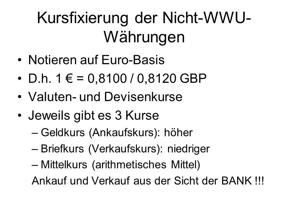 Kursfixierung der Nicht-WWU- Währungen Notieren auf Euro-Basis D.h.