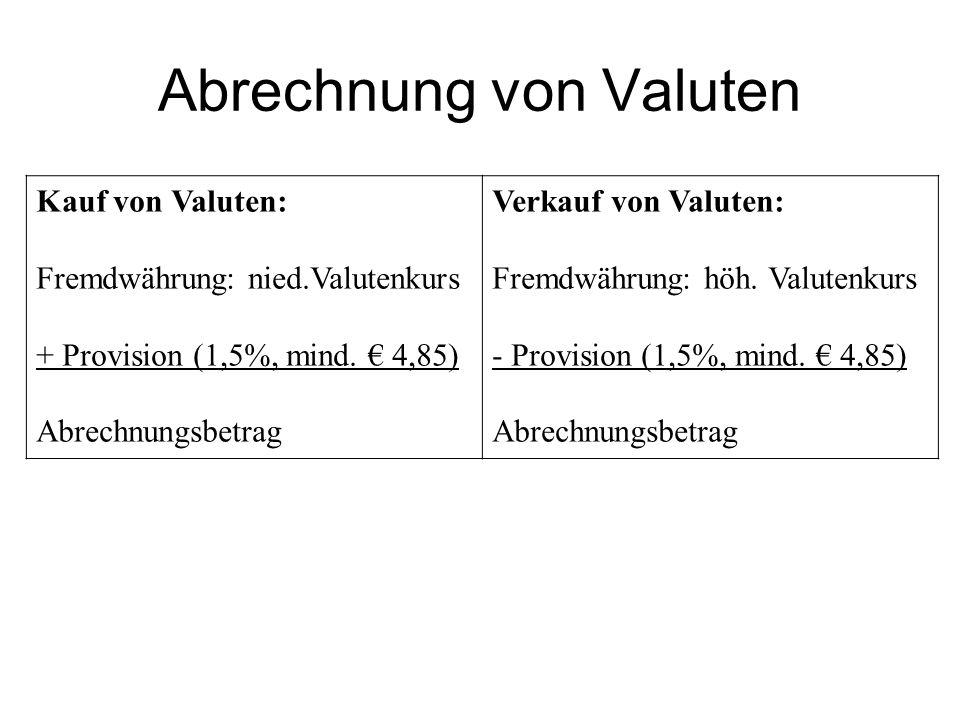 Abrechnung von Valuten Kauf von Valuten: Fremdwährung: nied.Valutenkurs + Provision (1,5%, mind.