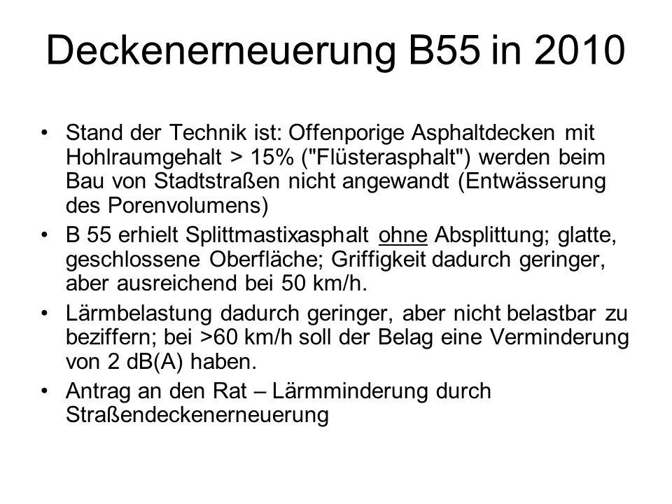 Deckenerneuerung B55 in 2010 Stand der Technik ist: Offenporige Asphaltdecken mit Hohlraumgehalt > 15% (