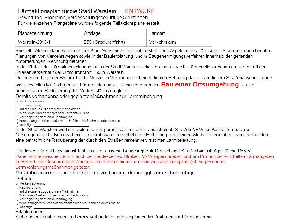 Lärmaktionsplan für die Stadt Warstein ENTWURF Bewertung, Probleme, verbesserungsbedürftige Situationen Für die einzelnen Plangebiete wurden folgende