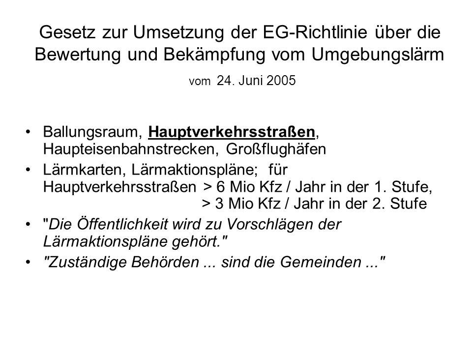Gesetz zur Umsetzung der EG-Richtlinie über die Bewertung und Bekämpfung vom Umgebungslärm vom 24. Juni 2005 Ballungsraum, Hauptverkehrsstraßen, Haupt