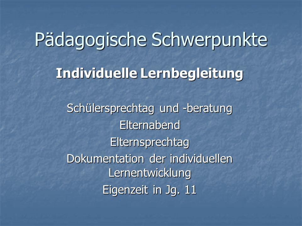 Pädagogische Schwerpunkte Individuelle Lernbegleitung Schülersprechtag und -beratung ElternabendElternsprechtag Dokumentation der individuellen Lernen