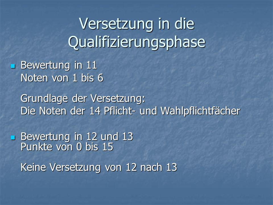 Versetzung in die Qualifizierungsphase Bewertung in 11 Bewertung in 11 Noten von 1 bis 6 Grundlage der Versetzung: Die Noten der 14 Pflicht- und Wahlp