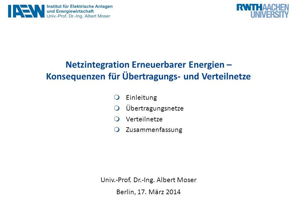 Netzintegration Erneuerbarer Energien – Konsequenzen für Übertragungs- und Verteilnetze Einleitung Übertragungsnetze Verteilnetze Zusammenfassung Univ