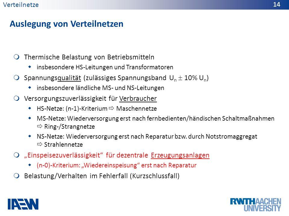 Verteilnetze Auslegung von Verteilnetzen 14 Thermische Belastung von Betriebsmitteln insbesondere HS-Leitungen und Transformatoren Spannungsqualität (