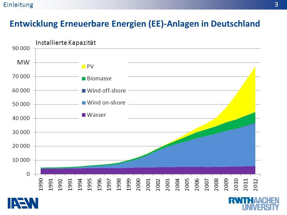 Ausblick zu EE-Anlagen in Deutschland Einleitung 4 GW Installierte Erzeugungskapazität 201220242034 Erzeugungs- system I Erzeugungs- system II Quelle: Szenariorahmen NEP 2014