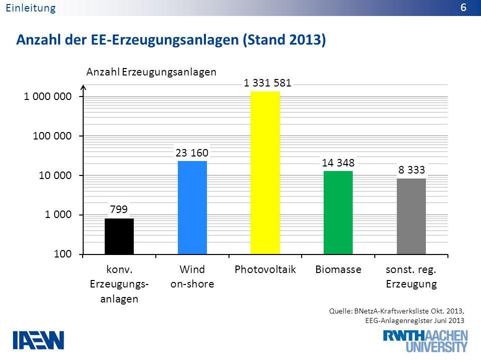 Anzahl der EE-Erzeugungsanlagen (Stand 2013) 6 Quelle: BNetzA-Kraftwerksliste Okt. 2013, EEG-Anlagenregister Juni 2013 Anzahl Erzeugungsanlagen Einlei