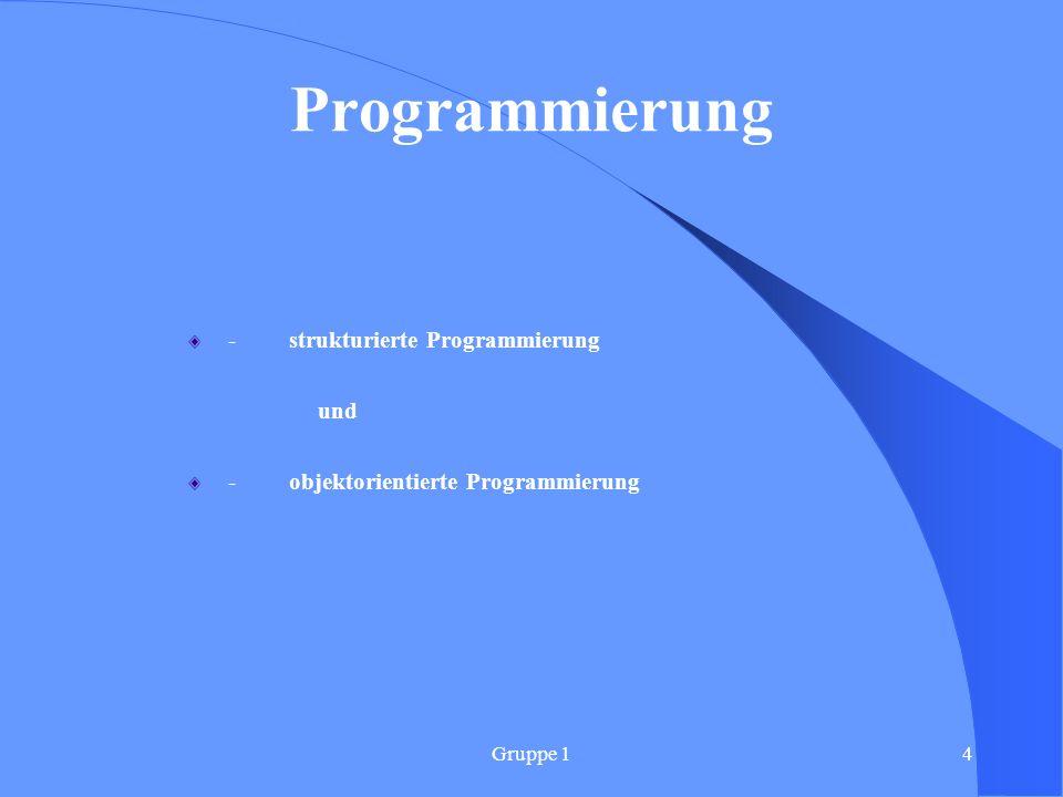 Gruppe 15 Softwarearchitektur Elemente der Softwarearchitektur: - Komponenten - Beziehungen (Konnektoren) - Eigenschaften