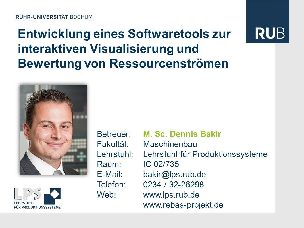 Entwicklung eines Softwaretools zur interaktiven Visualisierung und Bewertung von Ressourcenströmen Betreuer: M. Sc. Dennis Bakir Fakultät: Maschinenb
