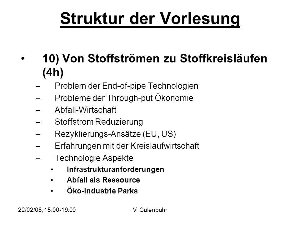 22/02/08, 15:00-19:00V. Calenbuhr Struktur der Vorlesung 10) Von Stoffströmen zu Stoffkreisläufen (4h) –Problem der End-of-pipe Technologien –Probleme