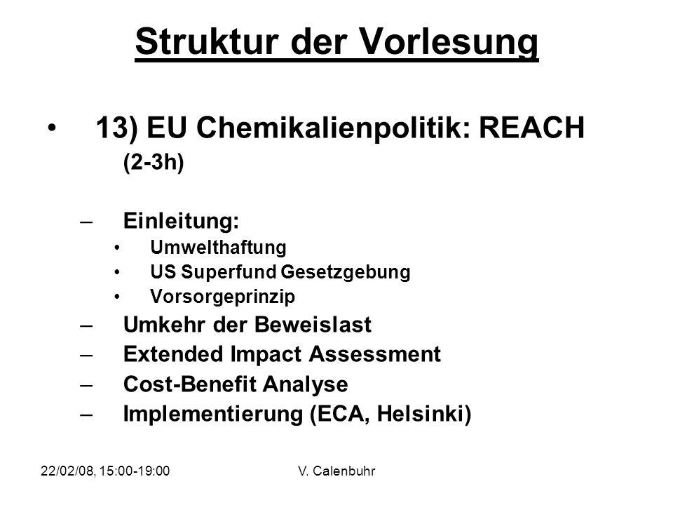 22/02/08, 15:00-19:00V. Calenbuhr Struktur der Vorlesung 13) EU Chemikalienpolitik: REACH (2-3h) –Einleitung: Umwelthaftung US Superfund Gesetzgebung