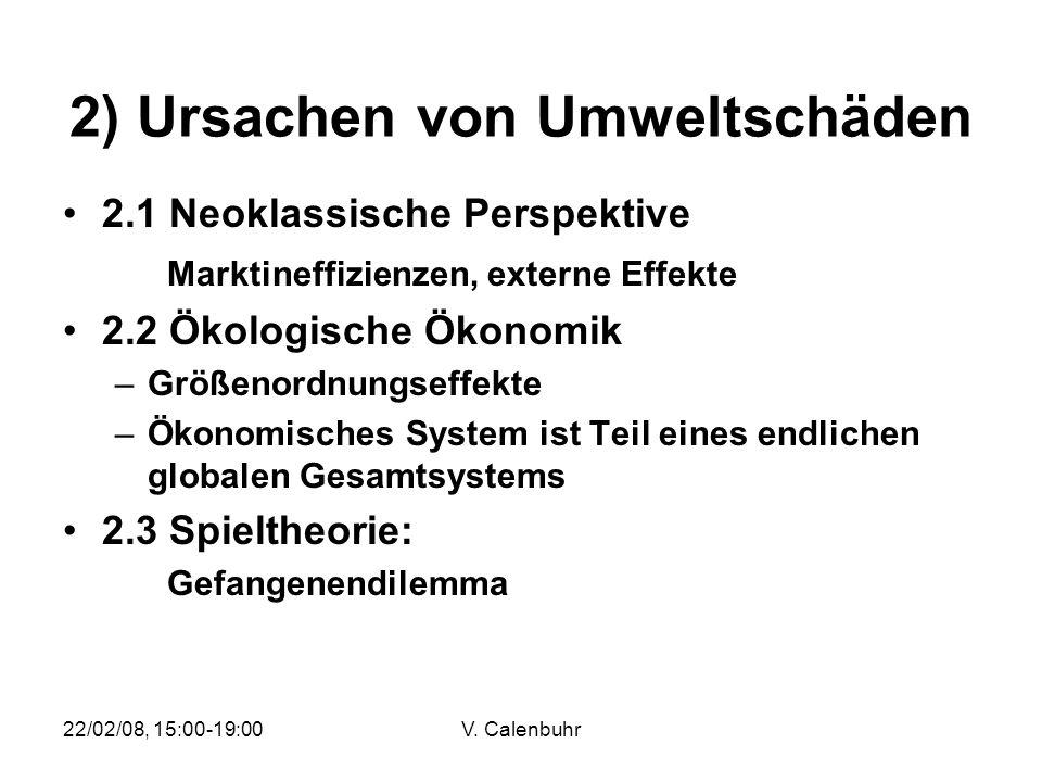 22/02/08, 15:00-19:00V. Calenbuhr 2) Ursachen von Umweltschäden 2.1 Neoklassische Perspektive Marktineffizienzen, externe Effekte 2.2 Ökologische Ökon