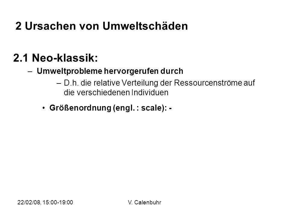 22/02/08, 15:00-19:00V. Calenbuhr 2.1 Neo-klassik: –Umweltprobleme hervorgerufen durch –D.h. die relative Verteilung der Ressourcenströme auf die vers