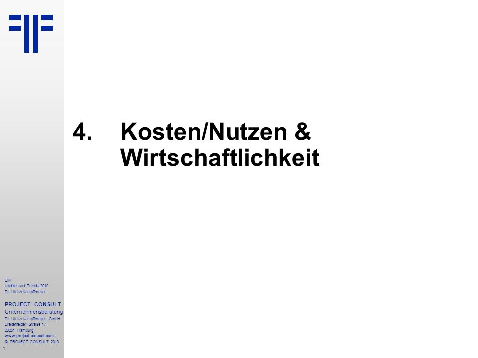 1 EIM Update und Trends 2010 Dr. Ulrich Kampffmeyer PROJECT CONSULT Unternehmensberatung Dr. Ulrich Kampffmeyer GmbH Breitenfelder Straße 17 20251 Ham