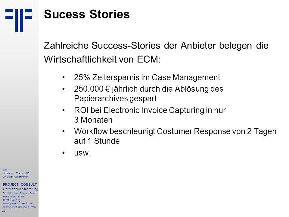 24 EIM Update und Trends 2010 Dr. Ulrich Kampffmeyer PROJECT CONSULT Unternehmensberatung Dr. Ulrich Kampffmeyer GmbH Breitenfelder Straße 17 20251 Ha