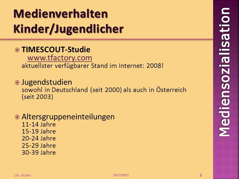 TIMESCOUT-Studie www.tfactory.com aktuellster verfügbarer Stand im Internet: 2008!www.tfactory.com Jugendstudien sowohl in Deutschland (seit 2000) als auch in Österreich (seit 2003) Altersgruppeneinteilungen 11-14 Jahre 15-19 Jahre 20-24 Jahre 25-29 Jahre 30-39 Jahre IM07SMDS Chr.