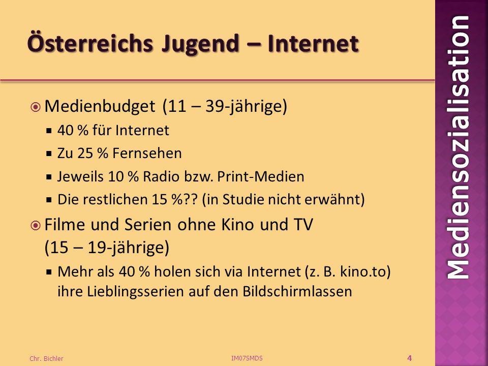 Medienbudget (11 – 39-jährige) 40 % für Internet Zu 25 % Fernsehen Jeweils 10 % Radio bzw.