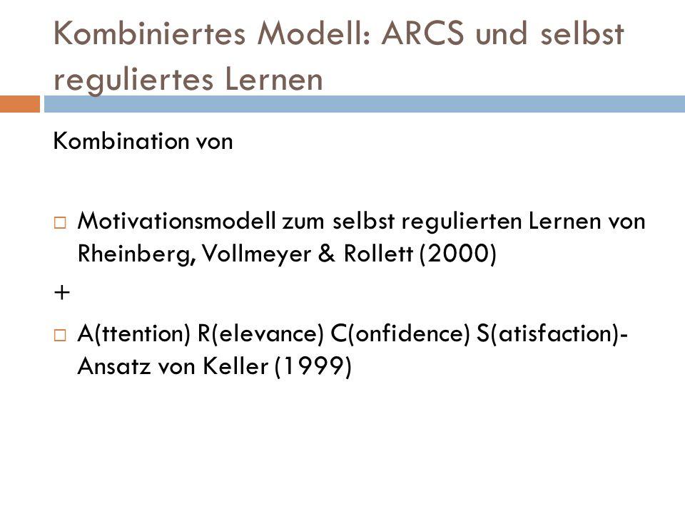 Kombiniertes Modell: ARCS und selbst reguliertes Lernen Kombination von Motivationsmodell zum selbst regulierten Lernen von Rheinberg, Vollmeyer & Rollett (2000) + A(ttention) R(elevance) C(onfidence) S(atisfaction)- Ansatz von Keller (1999)
