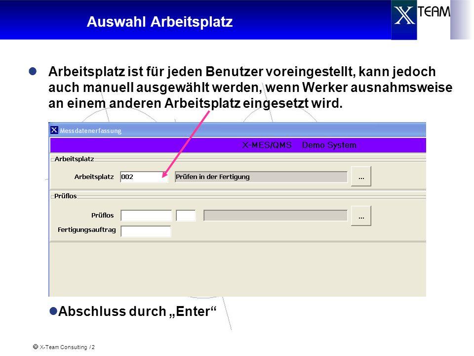 X-Team Consulting / 13 Anschluss von Messmitteln Übernahme des Kanals und der Messmittelbeschreibung wird aus dem SAP-Merkmal übernommen Der Kanal kann bei Bedarf über- schrieben werden Das Messmittel kann auch manuell aus-/eingeschaltet werden