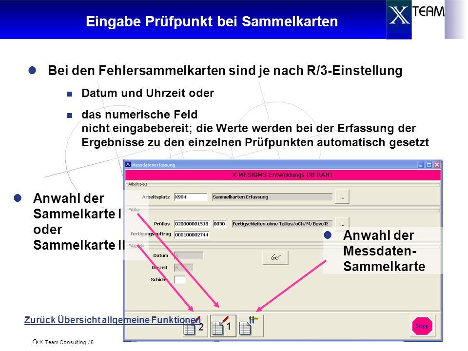 X-Team Consulting / 6 Fehlersammelkarte I Information über das Prüflos Eingabe der geprüften und fehlerhaften Einheiten Eingabe der Menge Ggf.
