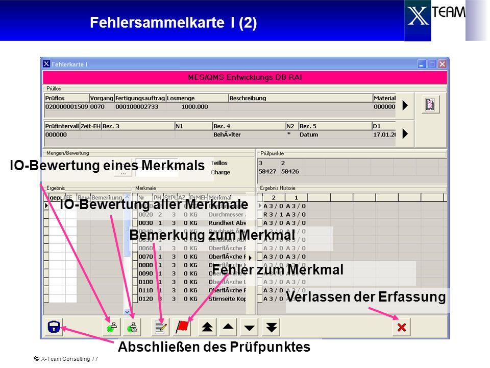 X-Team Consulting / 7 Fehlersammelkarte I (2) Abschließen des Prüfpunktes Bemerkung zum Merkmal Fehler zum Merkmal Verlassen der Erfassung IO-Bewertung eines Merkmals IO-Bewertung aller Merkmale