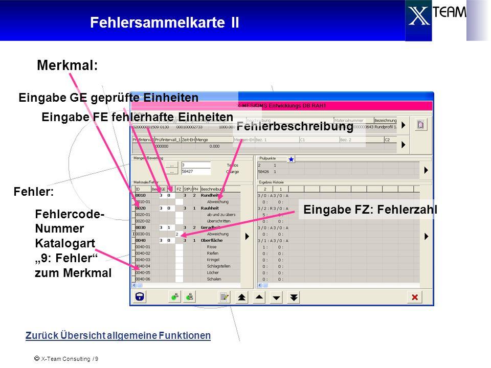 X-Team Consulting / 10 Messdatensammelkarte Eingabe Messwerte Sonstige Funktion und Bedienung zu den Fehlersammelkarten identisch Zurück Übersicht allgemeine Funktionen