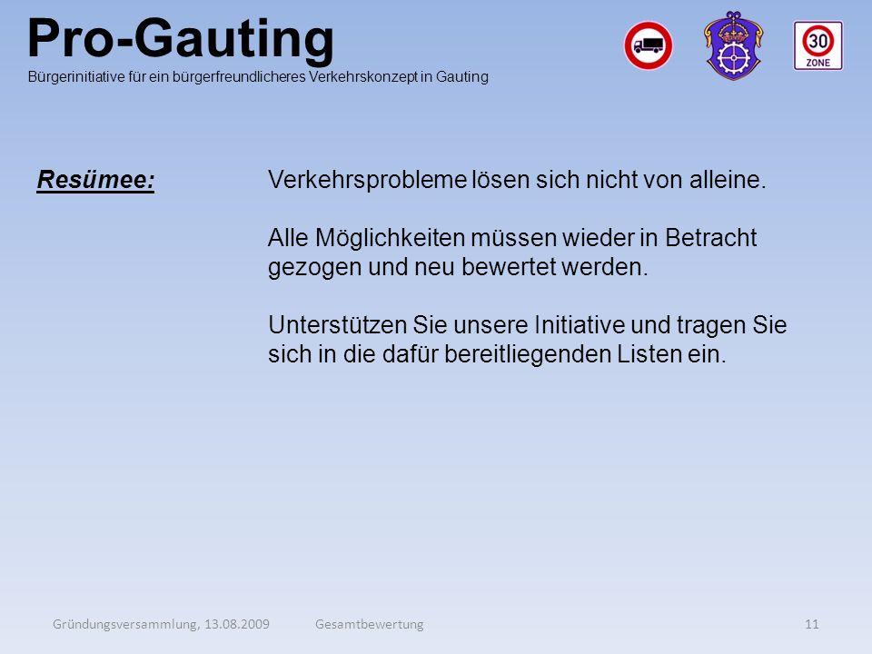 Pro-Gauting Gründungsversammlung, 13.08.200911Gesamtbewertung Bürgerinitiative für ein bürgerfreundlicheres Verkehrskonzept in Gauting Resümee:Verkehr