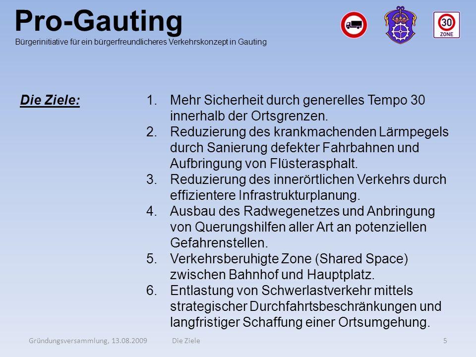 Pro-Gauting Gründungsversammlung, 13.08.20095Die Ziele Bürgerinitiative für ein bürgerfreundlicheres Verkehrskonzept in Gauting Die Ziele:1.Mehr Siche